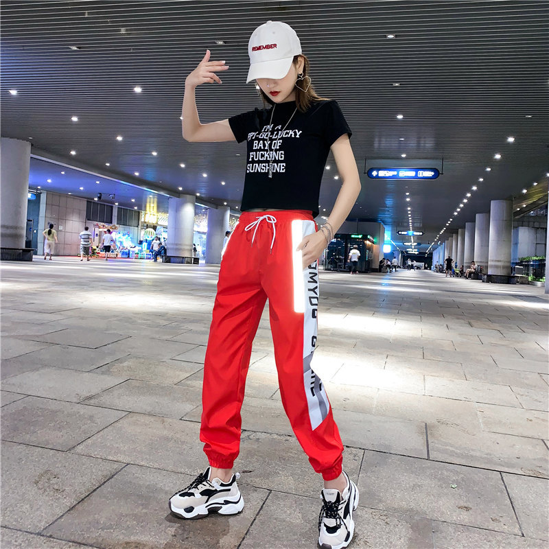 Photo Shoot ~ Douyin New Style Casual Sports WOMEN'S Suit Hip Hop Street Dance Adults Dancing Shuffle Ghost Step Dance Clothes