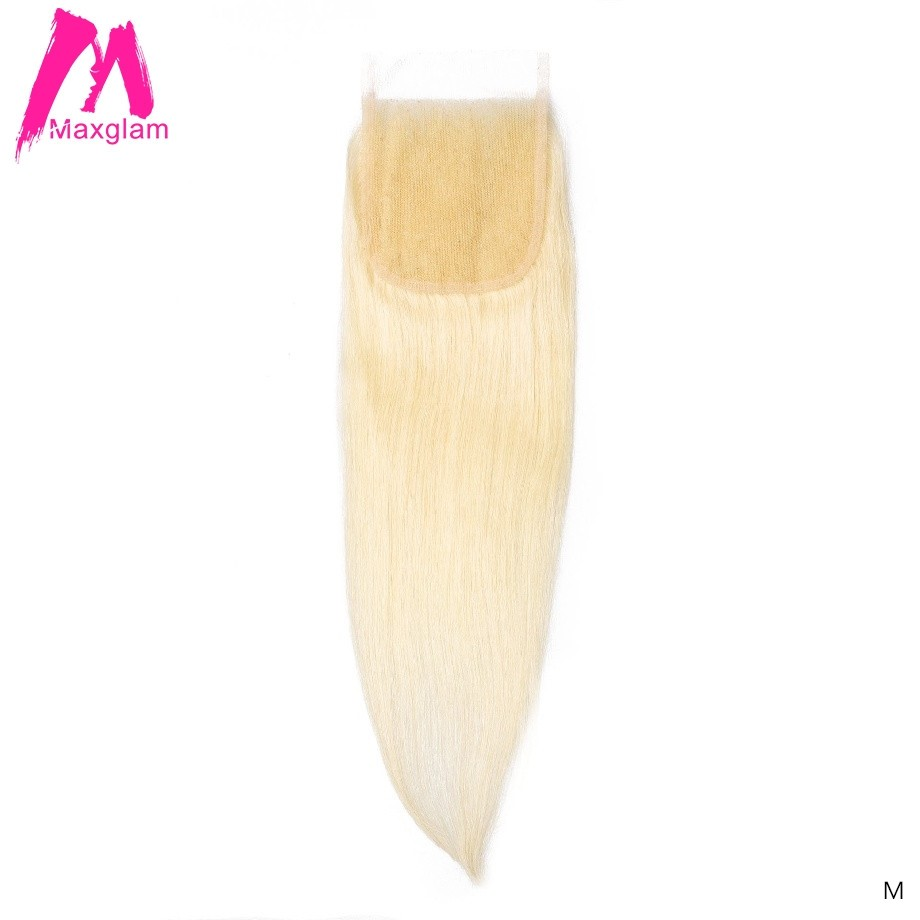 Blonde 613 Brazilian Human Hair 4x4 Lace Closure Short Straight Long Pre Plucked remy hair Swiss Lace Frontal for Black Women image