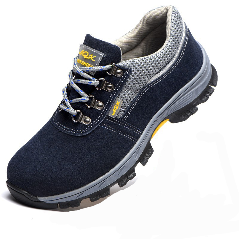 Men Running Shoes Breathable Work Safe Protective Shoes Steel Head Smashing Anti Puncture Lace Up Outdoor Sneakers Comfortable