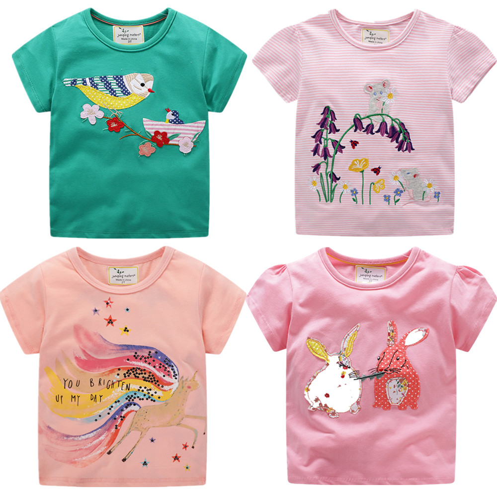 Brand New Latest 2020 Summer Baby Girls Clothes Short Sleeve O-neck T Shirt Embroidery Cartoon Rabbit Bird Tee Tops For Girls