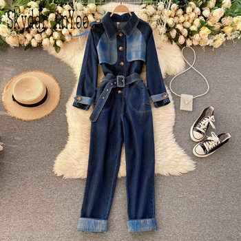 Women Fashion Jumpsuits 2021 Long Sleeve Denim Overalls For Womens Vintage Romper Jumpsuit Jeans Loose Causal Wide Leg Pants xuru women cold shoulder wide leg pants jumpsuits female overalls sexy party jumpsuit women s loose plus size jumpsuits