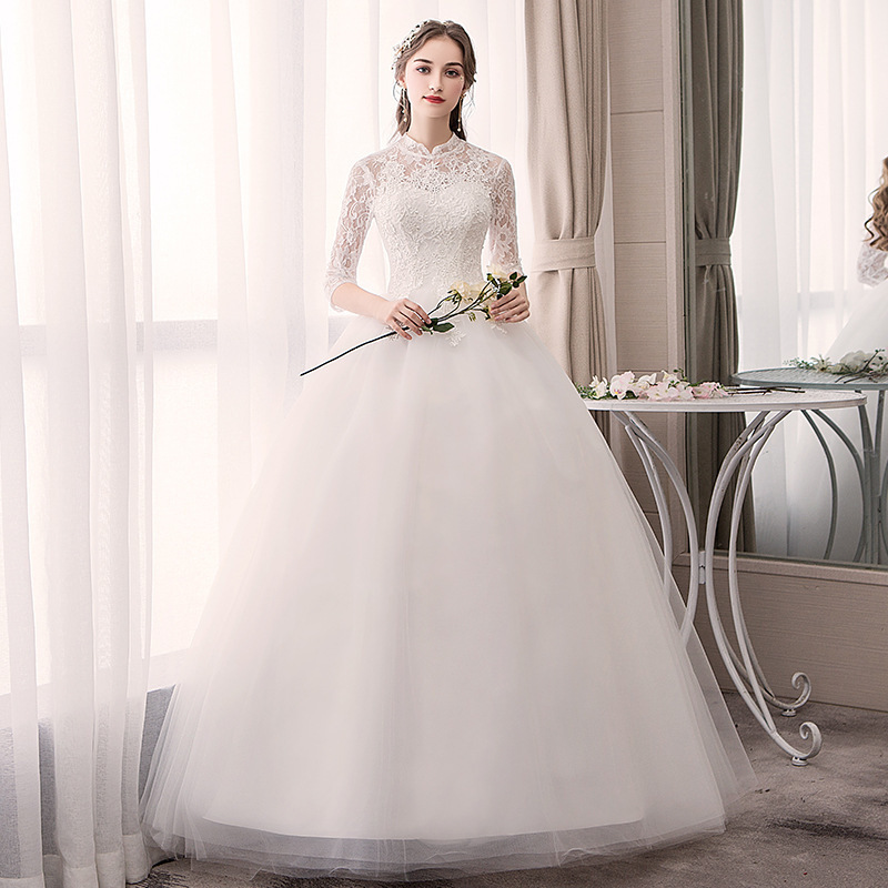 White Cheap Wedding Dresses Half Sleeve High Neck Lace Appliques Ball Gown Elegant Wedding Gowns For Bride Vestido Novia 2020