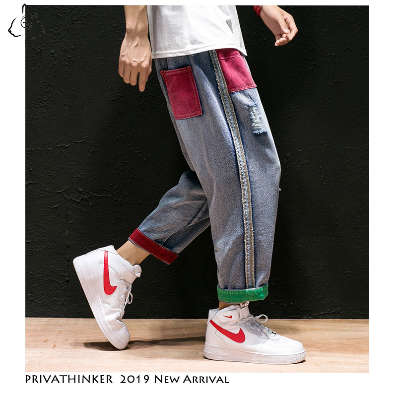 Privathinker Men Autumn Jeans Straight Pants 2019 Mens Japan Streetwear Shredded Patchwork Denim Pants Male Vintage Blue Jeans