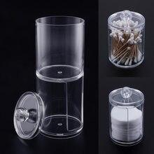 Acrílico multifuncional redondo transparente recipiente cosméticos maquiagem almofada de algodão organizador caixa de armazenamento de jóias titular frascos de doces