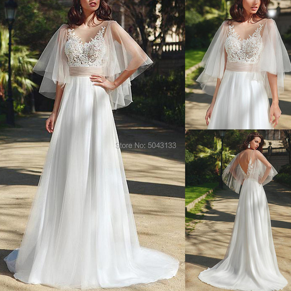Elegant Tulle Boho Wedding Dresses 2020 Lace Applique Scoop Neck Flare Sleeve Bridal Gown Sexy Backless Floor Length Bride Dress