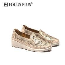 Focusplus ilkbahar ve sonbahar içi boş Metal rüzgar deri kama loafer'lar rahat moda yürüyüş ayakkabısı kadın ayakkabısı D108