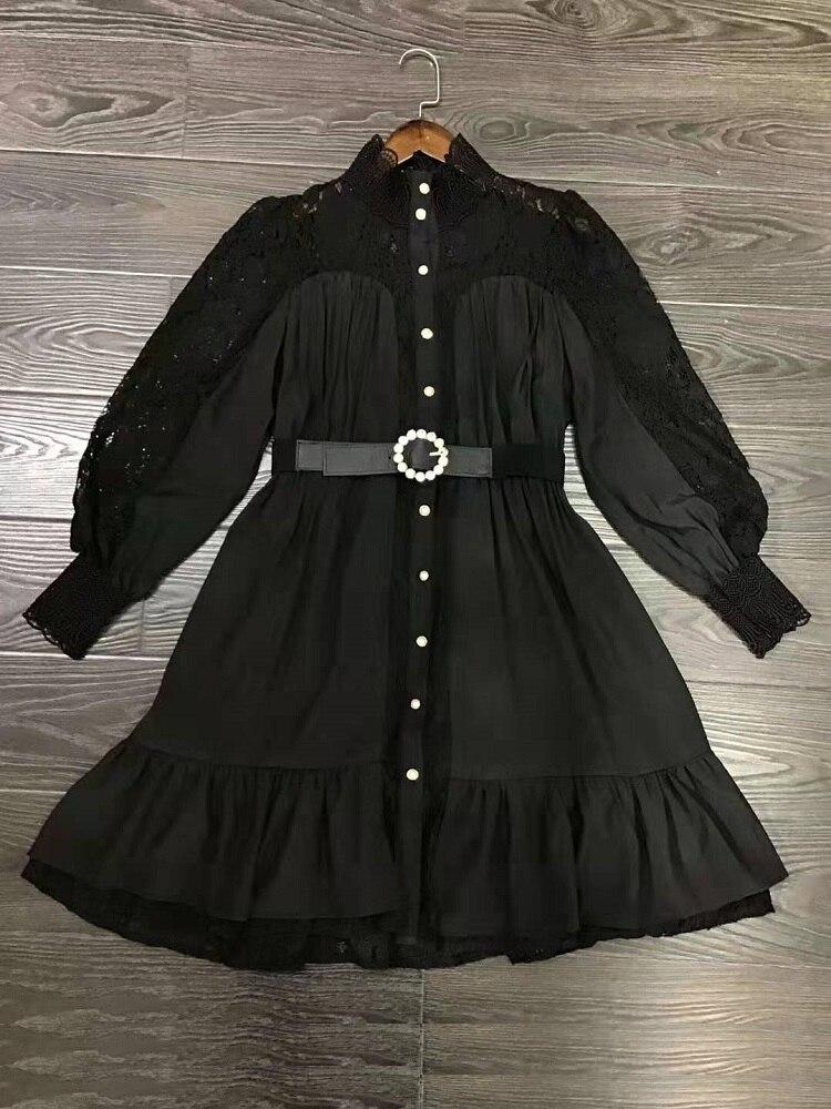 Alta qualidade designer vestido 2019 outono inverno sexy party club feminino oco para fora rendas retalhos manga longa vestido branco - 3