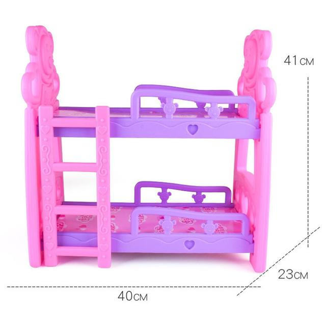 DIY Girls Toys Play House Pretend Play Furniture Toy Baby Doll Accessories Simulation Bunk Bed For Dolls Shaking Trojan Juguetes 6