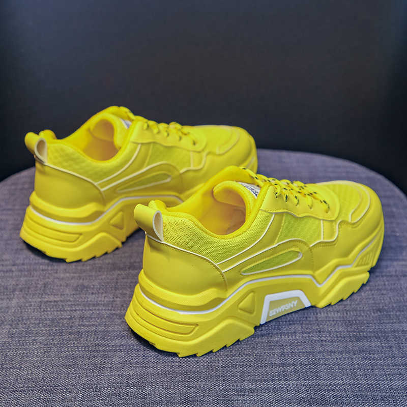 Chaussures pour femmes en maille respirante plate-forme de basket-ball épais décontracté doux chaussures de sport jaune décontracté femme orange 2019
