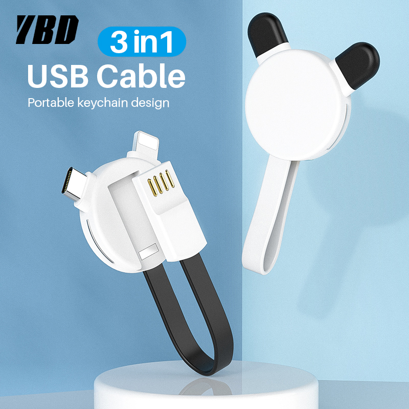 YBD <font><b>3</b></font> <font><b>in</b></font> <font><b>1</b></font> <font><b>Keychain</b></font> Charging Cable For iPhone X XR XS Max 8 7 Micro USB Cable Charger USB Type C Cable for Samsung Huawei Xiaomi image