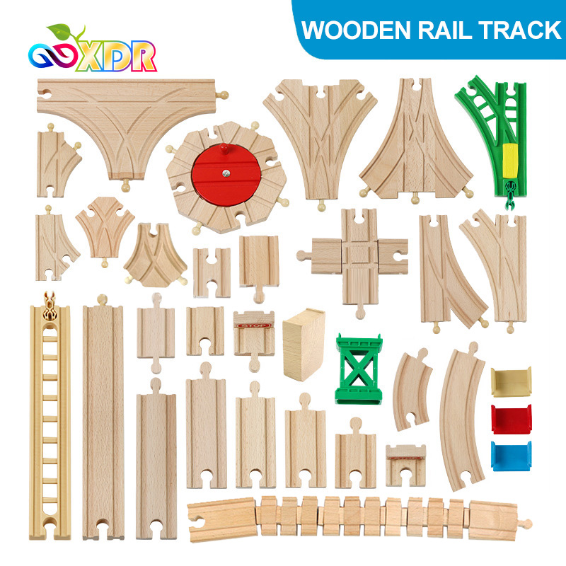 Children Wooden Train Rail Track Toy Kids DIY Beech Track Accessories Compatible With Tomas And His Friends Train Track Set Toys