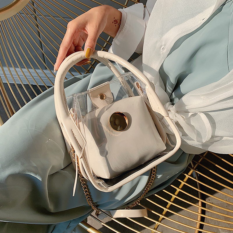 Transparent Jelly Tote Bucket Bag 2020 Summer Fashion New High Quality PVC Women's Designer Handbag Chain Shoulder Messenger Bag