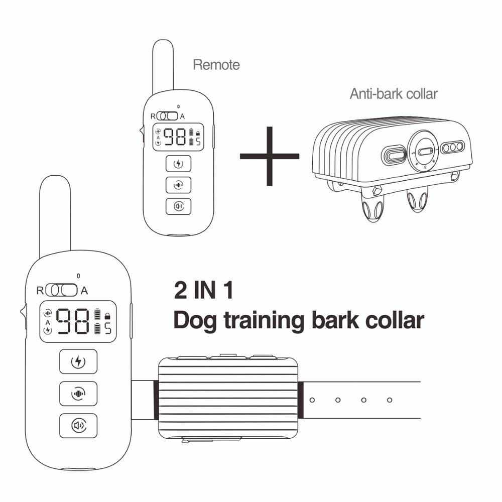 2 in 1 Remote Dog Training Bark Collar Rechargeable Dog Electric Collar Anti Bark Waterproof Remote Dog Collar for 1 Dog 400M 4