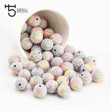 15mm Rainbow Printed Round Clay Beads for making jewelry Diy Bracelet for Women Loose Spacer Polymer fimo beads wholesale C804 borosa 10pcs rainbow handmade bracelets polymer clay beads fimo slices plastic thin disc elastic string bracelet jewelry hd0090
