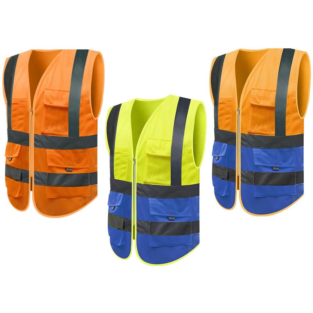 Hi Vis Security Visibility Reflective Vest Warp Knitting Cloth Construction Traffic Cycling Wear Reflective Safety Clothing Tops