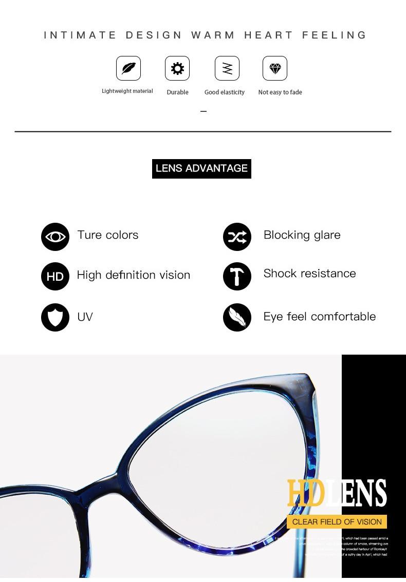 New Retro Cat Eye Women Glasses Frame Anti Blue Light Lady Eyeglasses Frame myopia Vintage Clear Glasses Optical Spectacle Frame (2)