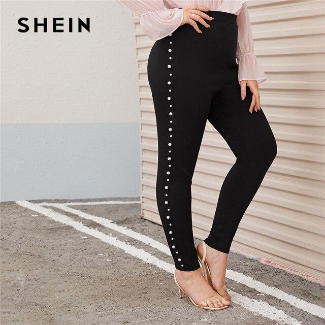 SHEIN プラスサイズパール修飾語黒スキニーパンツの女性秋春固体エレガントなロングフィットズボン鉛筆のズボン