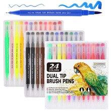 24 цвета двойной набор кистей и ручек фломастеры для детей надпись рисунок букинг каллиграфия кисть маркер художественные принадлежности