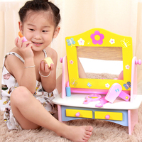 Baby Girl Play Makeup Wooden Simulation Comb Mirror Dressing Table Makeup Toy Interactive Toys for Kids Birthday Boxed Gift