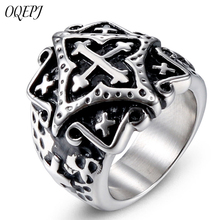 OQEPJ Classic Retro Flower Cross Rings 316L Stainless Steel Silver Color Ring For Men Personalized High Quality Jewelry Gifts