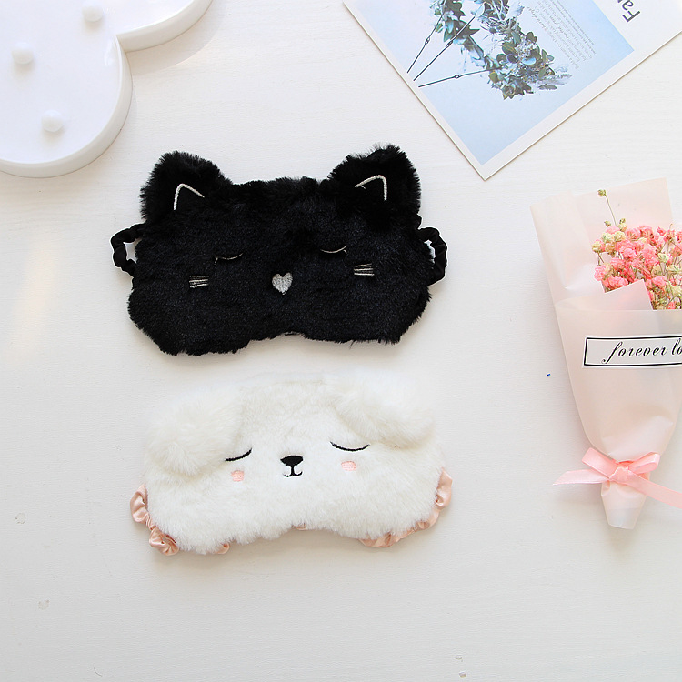 Black Cat White Dog Cartoon Eye Mask 3D Sleeping Eyemask Snoring Eyeshade Kitten Eye Mask Home Travel Goggles Shading Sleep Nap