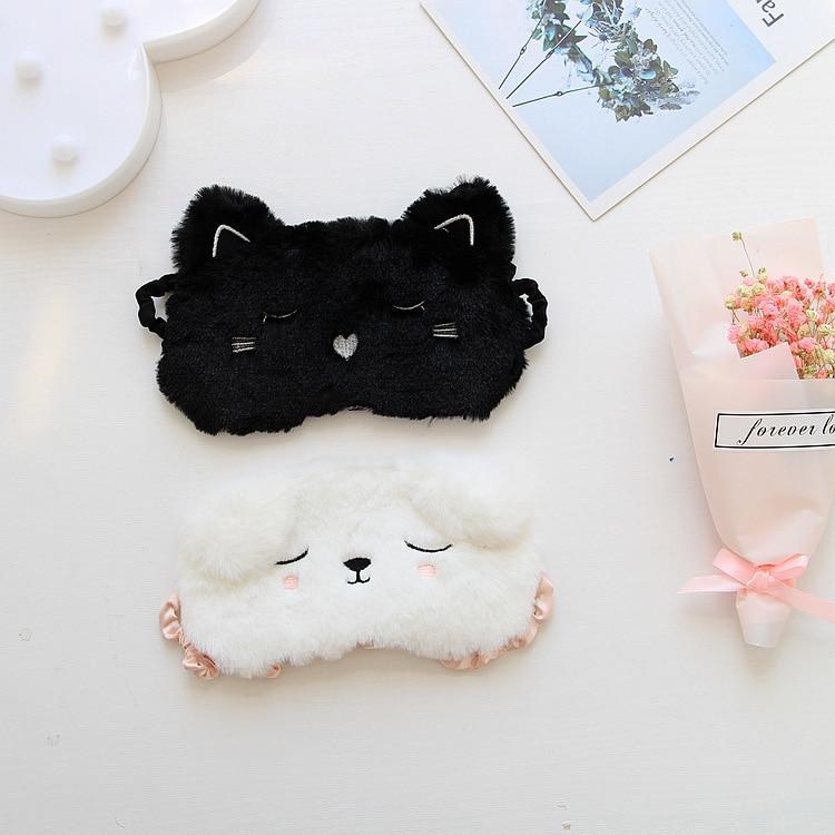 Black Cat White Dog Cartoon Eye Mask 3D Sleeping Eyemask Snoring Eyeshade Kitten Eye Mask Home Travel Goggles Shading Sleep Nap