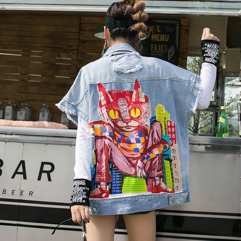 SexeMara fashion The New autumn Cartoon printing Hole Burr Cowboy vest free shipping