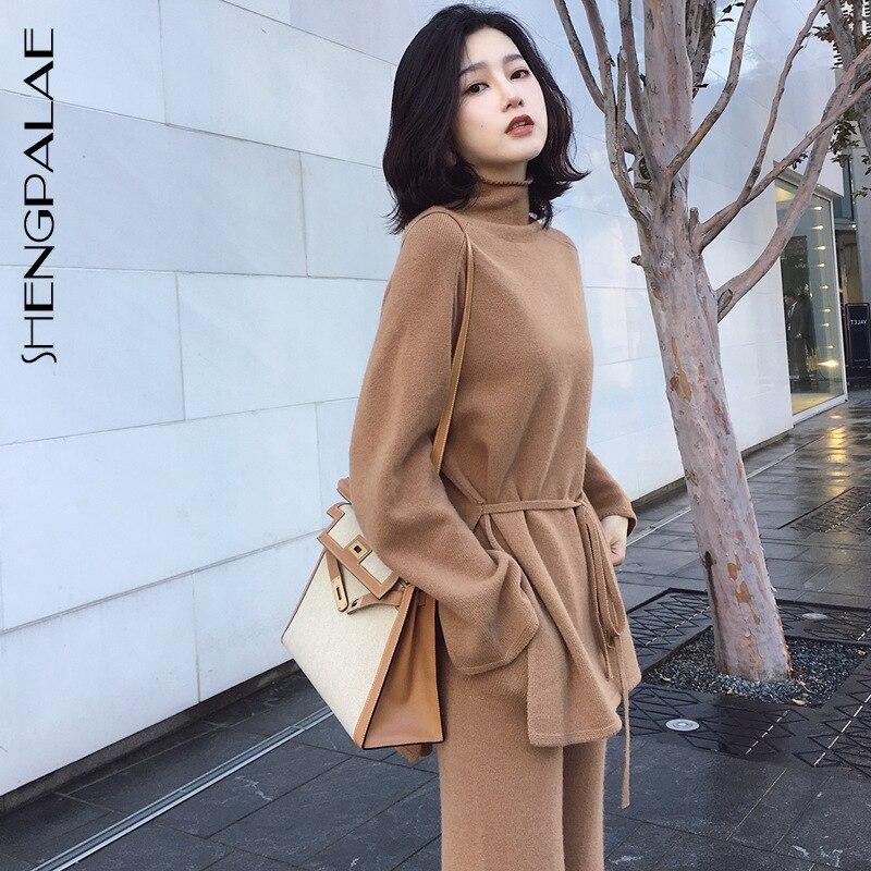 SHENGPALAE Twinset Bandage Sweater Woman 2019 Autumn Knitting Wide Leg Pants Suit Korean Fashion Women Two Piece Outfits FU027