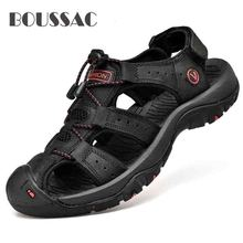 BOUSSAC Classic Men Soft Sandals Comfortable Men Summer Shoes Leather Sandals Big Size Soft Sandals Men Roman Comfortable цена 2017