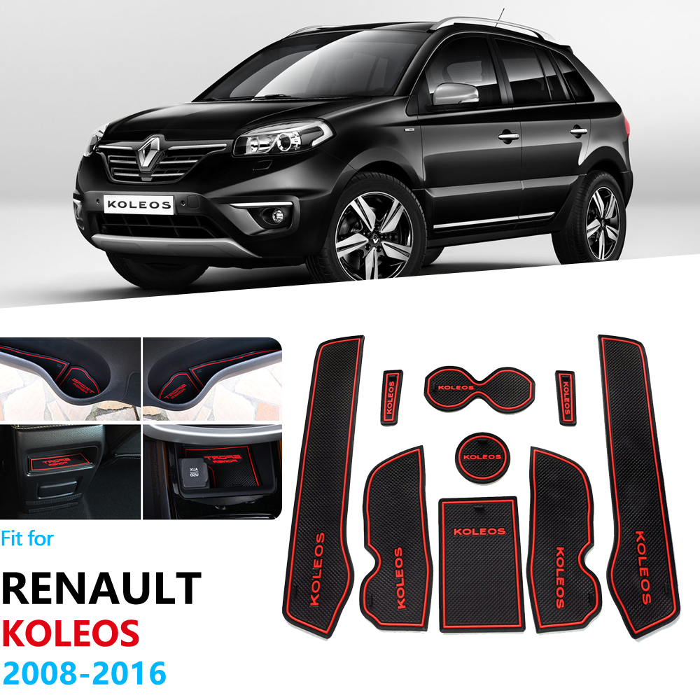 For Renault Koleos Samsung QM5 2008~2016 Anti-Slip Gate Slot Pad Rubber Cup Mat Cushion Car Stickers 2015 2014 2013 2012