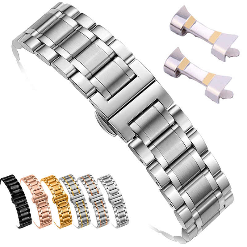 12/14/15/16/17/18/19/20/21/22/ 23/24 Mm Watch Band Tali Stainless Steel Watchband Gelang dengan Hollow Arc Antarmuka