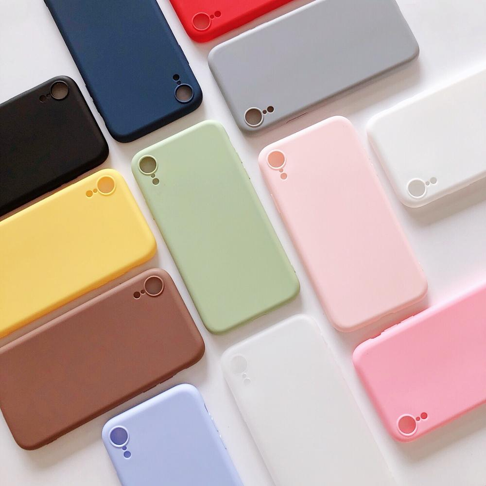 Luxury Matte Silicone Case for iphone 5 5s SE 6 6s 7 8 Plus X Candy Color Soft Cover for iphone 11 pro XS Max XR Shockproof Case