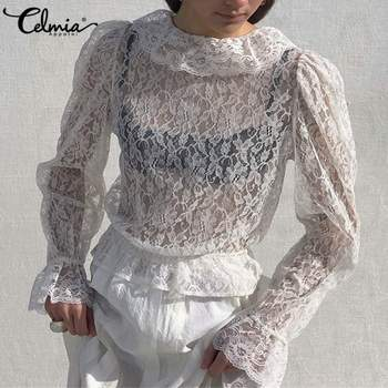 2020 Summer Lace Shirt Women Sexy See-through Holiday Blouse Celmia Long Flare Sleeve Tunic Top Casual Office Plus Size Tops 7 women s lace patchwork blouse zanzea sexy transparent tops casual long sleeve summer blusa female lapel tunic plus size tunic 7