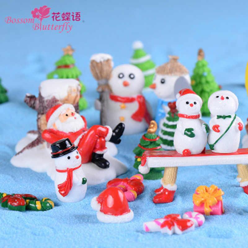 サンタクロース雪だるまムーンスター帽子スタイルガーデンクリスマスミニチュア樹脂装飾マイクロ風景飾り 1PC