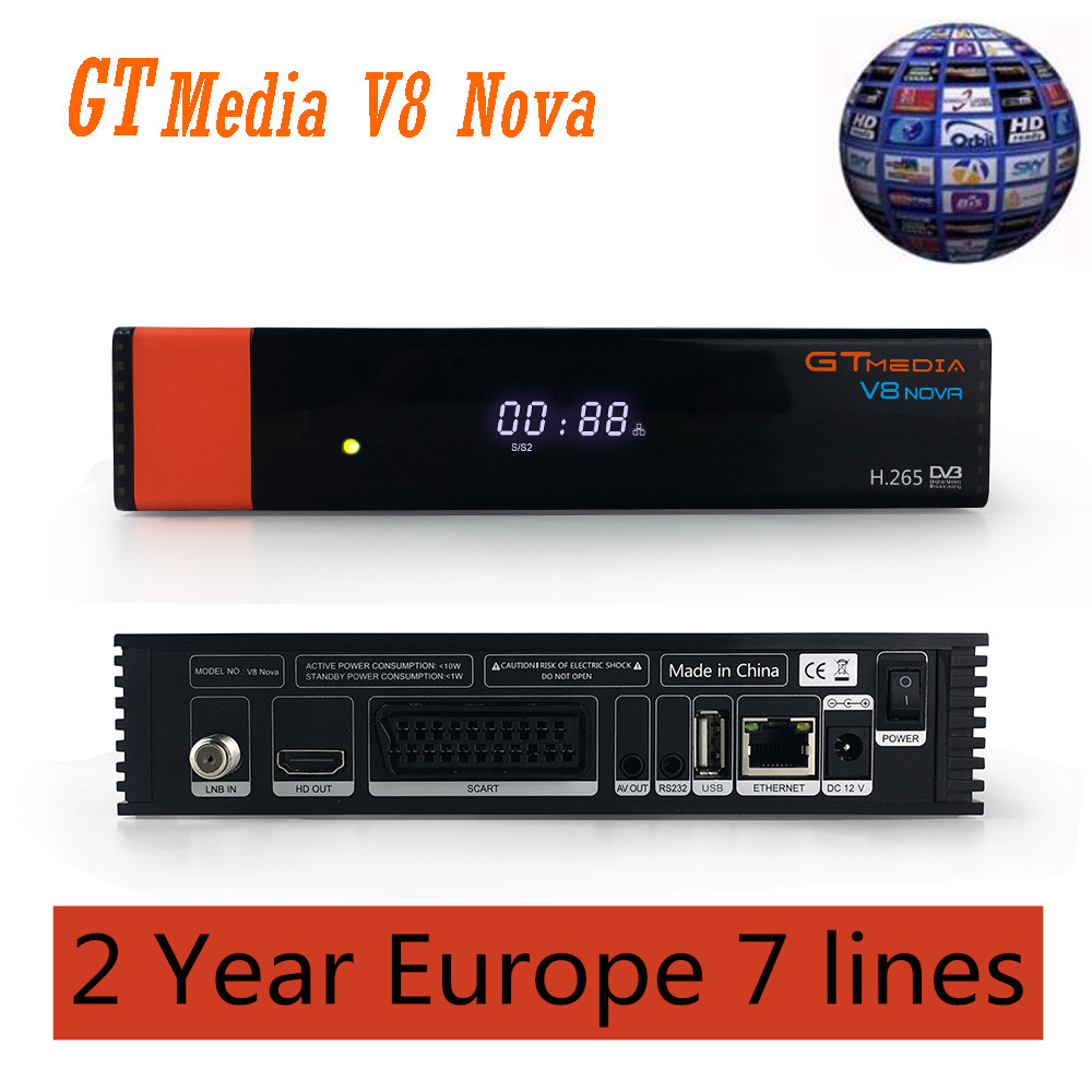 Image 2 - Receptor Satellite Receiver Gtmedia V8 nova HD 1080P with 2 Years Europe 7 lines Built in Wifi H.265 DVB S2 Box Spain tv-in Satellite TV Receiver from Consumer Electronics