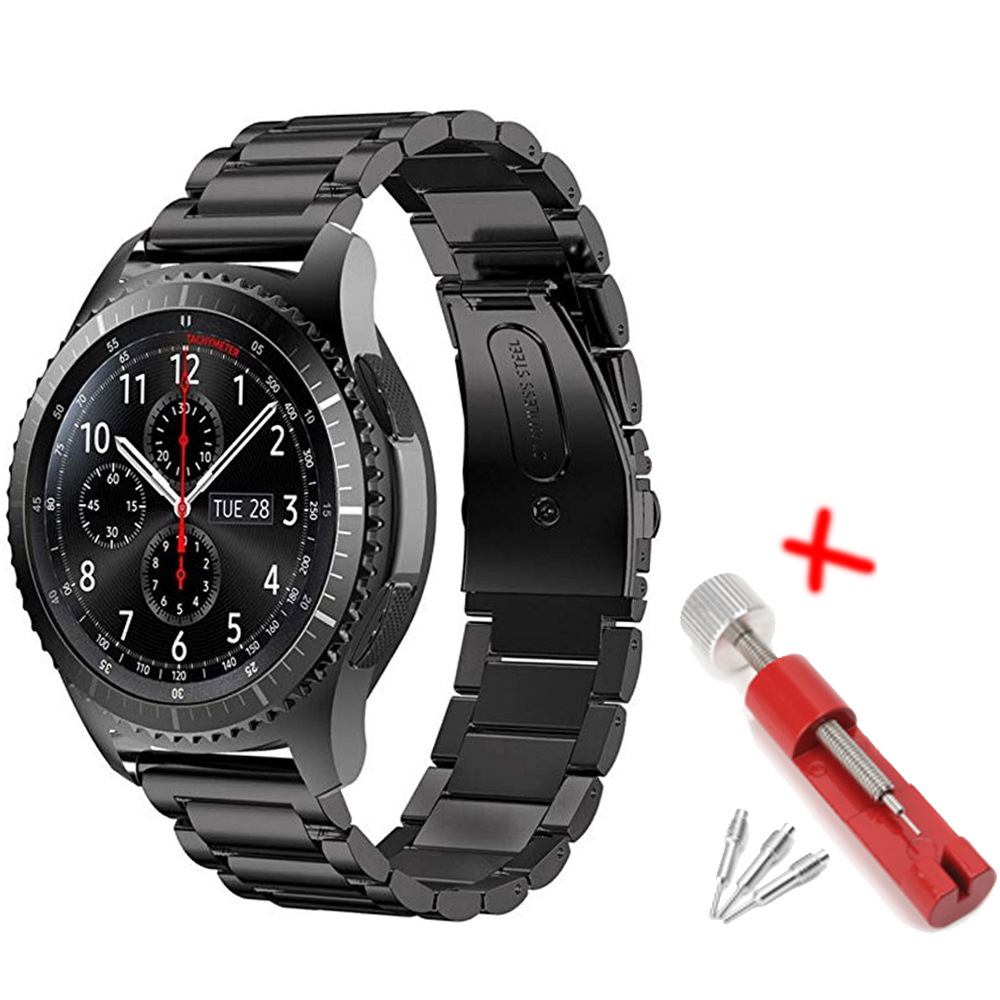 22mm <font><b>Watch</b></font> Band for <font><b>Samsung</b></font> Gear S3 Frontier/Class/Galaxy wacth <font><b>46mm</b></font> amazfit bip metal Stainless Steel <font><b>bracelet</b></font> <font><b>smart</b></font> watchband image