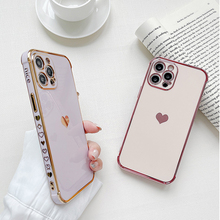Electroplated Love Heart Phone Case For iPhone 12 Mini 11 Pro Max XR XS Max X 7 8 Plus Plating Bumper Solid Color Soft TPU Cover