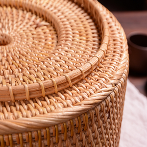 Image 5 - Hand woven Basket Primary Colours Simple retro Rattan Storage Boxes with lids Jewelry Tea set Storage Boxes Household items