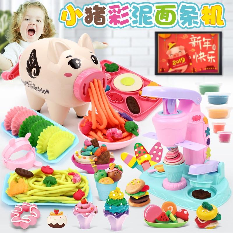 New Year Pig Noodle Machine Plasticene Mold Set Multi-Color Clay Children DIY Intelligence 3-6 Ice Cream Toys