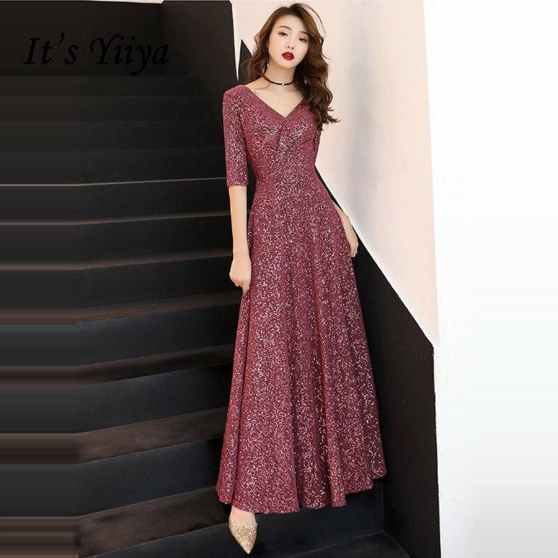 It's Yiiya Evening Dress Long V-neck Shining Evening Dresses Plus Size Elegant Formal Gowns 2020 Plus Size Robe De Soiree LF055