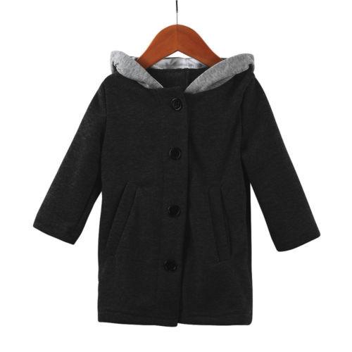 Осенне-зимнее милое пальто с капюшоном и ушками для маленьких девочек, куртка, одежда для малышей, худи с заячьими ушками, верхняя одежда, пальто - Цвет: Черный