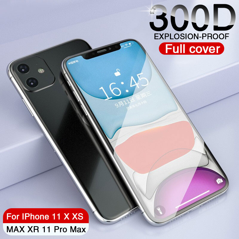 300D Protective Glass On The For IPhone 11 Pro X XS Max XR Tempered Screen Protector Glass Iphone 11 Pro Max XR Full Cover Glass