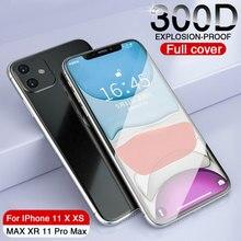 300d iphone 11 pro x xs max xr 강화 유리 보호 유리 iphone 11 pro max xr 풀 커버 유리