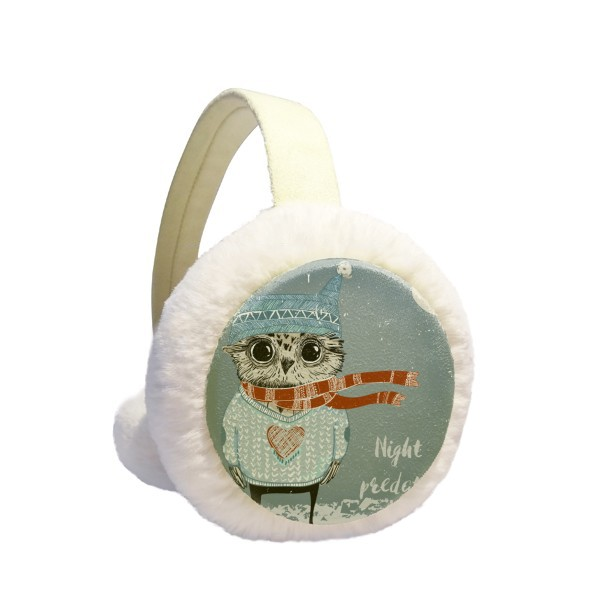 Sketching Lovely Owl Winter Night Winter Earmuffs Ear Warmers Faux Fur Foldable Plush Outdoor Gift