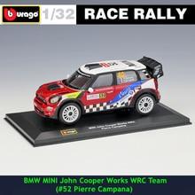 цена на Bburago 1:32 BMW MINI #52 DS WRC Rally Racing Alloy Model Car model Collecting gifts