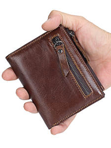 Id Wallet Coin-Purse Short Zipper Multifunction Genuine-Leather Credit Brand Man Men