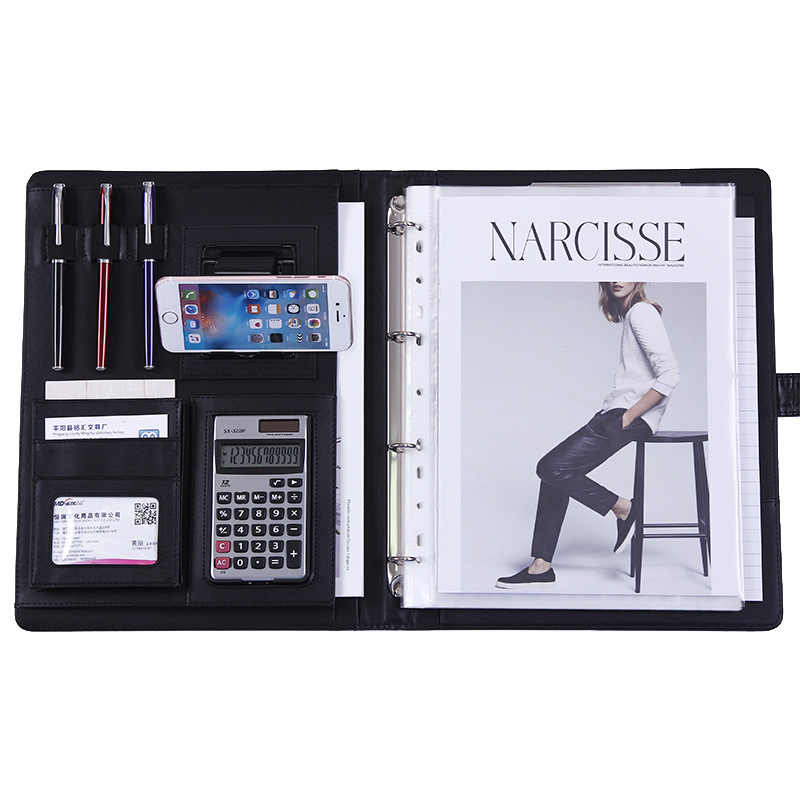 A4 PU Leather Binder File Folder Phone Holder with Calculator Document Organizer Briefcase Padfolio Manager Pouch Bag Stationery