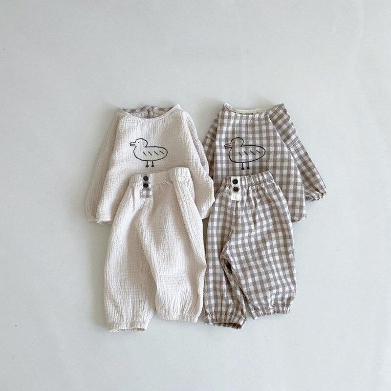 Conjunto de ropa con estampado de dibujos animados para bebés, Tops de manga larga y pantalones sólidos de lino y algodón, para primavera y otoño, 2 uds.