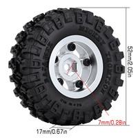 """INJORA 4PCS CNC 1.0"""" Beadlock Wheel Rim & Tire Set for 1/24 RC Crawler Car Axial SCX24 90081 AXI00001 Deadbolt 3"""