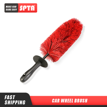 """SPTA cepillo de rueda larga de 18 """", accesorios de decoración de coche, cepillos de limpieza con detalles automáticos para bujes de rueda de coche, llantas de neumáticos, limpieza de radios"""